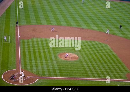 Boston Red Sox pitcher Josh Beckett follows through after throwing a pitch in a baseball game against the Baltimore - Stock Photo
