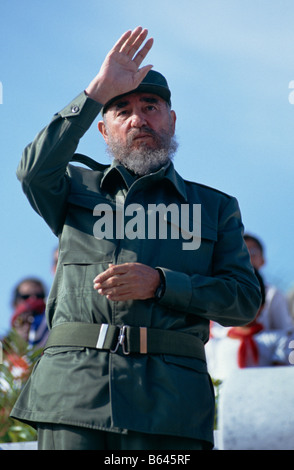 President Fidel Castro during May Day celebrations at the Memorial Jose Marti, in Plaza de la Revolucion Havana, - Stock Photo
