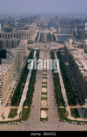 view of the Boulevard Unirii seen from roof of House/ Palace of The People, otherwise known as Ceaucescu's Palace, - Stock Photo