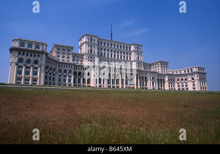 The House/ Palace of The People, otherwise known as Ceaucescu's Palace, at the end of Boulevard Unirii, Bucharest, - Stock Photo