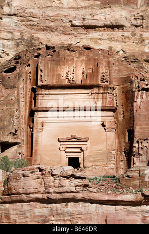 One of the Royal Tombs of Nabataea in Petra - Stock Photo