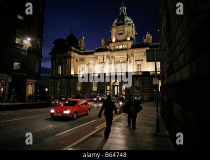 A night view of HBOS headquarters The Mound Edinburgh Scotland - Stock Photo