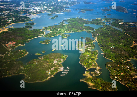 Finland, Islands and lakes near helsinki. Aerial. - Stock Photo