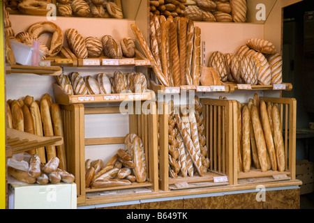 France, near Beaune, Burgundy, Baguettes and other French bread. - Stock Photo