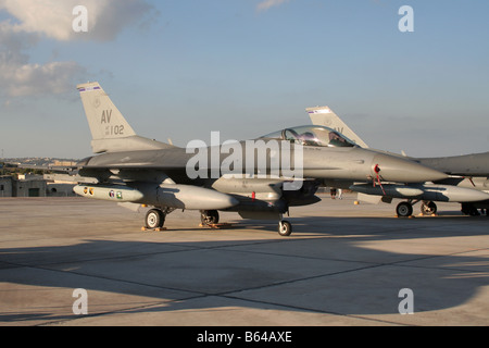 F-16C jet fighter of the US Air Force - Stock Photo