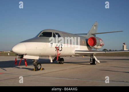 French Navy Dassault Falcon 10MER jet plane parked on airport apron - Stock Photo
