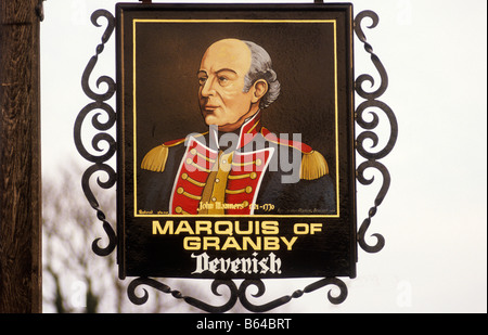 Marquis of Granby Pub Inn Sign board Weymouth Dorset John Manners 1721 to 1770 military uniform soldier England - Stock Photo