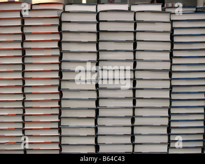 Stacks of books for sale in a Costco Wholesale big box store in the United States - Stock Photo