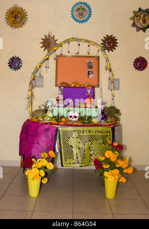 Oaxaca, Mexico. Day of the Dead.  Altar Decorations in Memory of the Dead: Skeleton, Skull, Flowers, Marigolds, - Stock Photo
