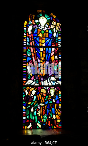St Samson Depicted in the west wall window of the Nave of St Illtyd s Church Caldey Island - Stock Photo