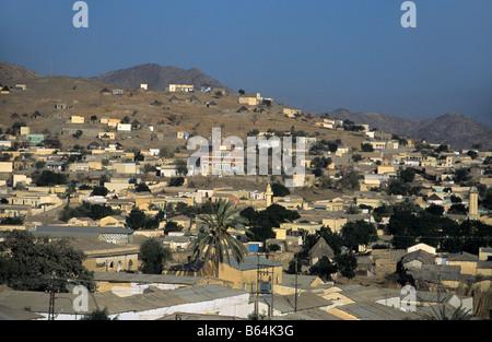 View over Keren in the Eritrean Highlands, Eritrea - Stock Photo