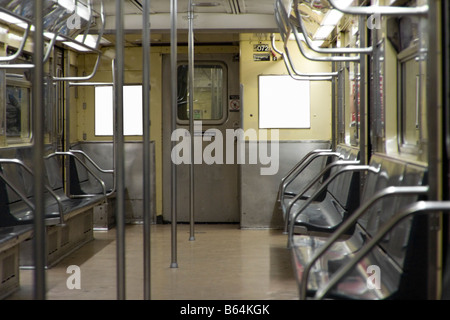 Empty NYC subway car without advertisements.  NY USA - Stock Photo