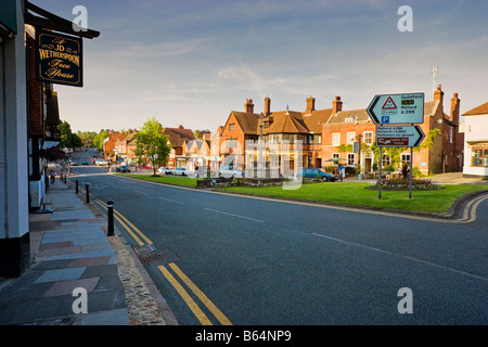 Dusk in the town centre of Haslemere Surrey England UK looking North in the late afternoon - Stock Photo