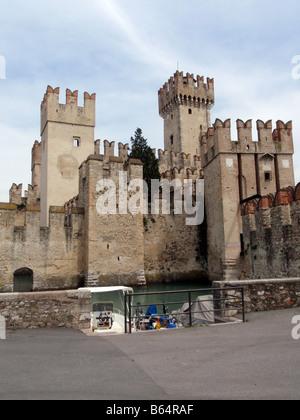 The Scaliger Castle in Sirmione [Comune di Sirmione, Lake Garda, Brescia, Lombardy, Italy, Europe].             - Stock Photo