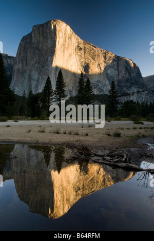 Yosemite National Park El Capitan Bridal Veil Falls sunrise rock climb climbing California, USA - Stock Photo