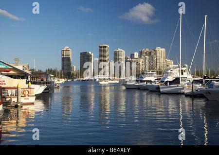 Mariners Cove Marina and High rise Buildings Main Beach Gold Coast Queensland Australia - Stock Photo