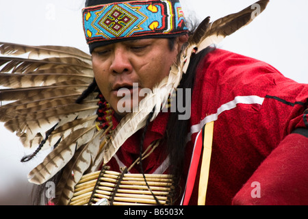 A Native American man dances at the Healing Horse Spirit PowWow in Mt. Airy, Maryland. - Stock Photo