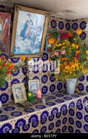 Matatlan, Oaxaca, Mexico.  Day of the Dead.  Family Altar in Matatlan Cemetery.  Offerings. - Stock Photo