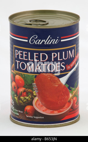 Can of Carlini peeled plum tomatoes sold in the UK by Aldi - Stock Photo