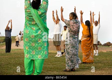 India, Mumbai, Maharashtra, Laughter yoga in Priyadarshini Park. - Stock Photo