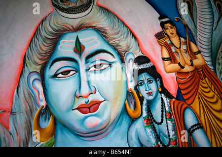 India, near Hyderabad, Andhra Pradesh, Countryside near Nalgonda, Temple art - Stock Photo