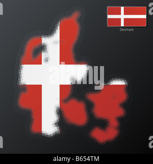 Vector illustration of a modern halftone design element in the shape of Denmark - Stock Photo