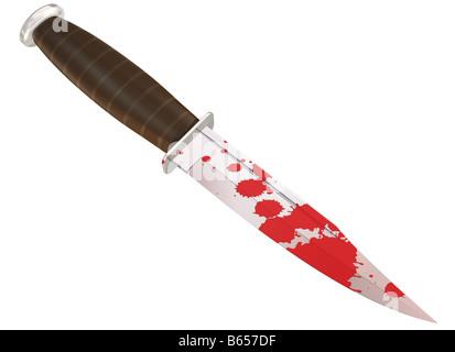 Illustration of a blood splattered murder weapon - Stock Photo