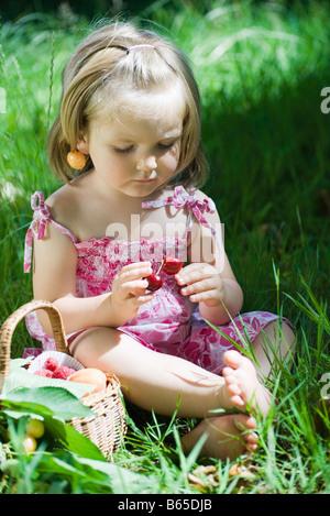 Little girl sitting on the ground holding cherries - Stock Photo