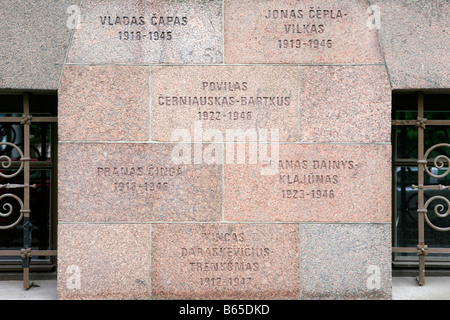 Plaque outside the Museum of Genocide Victims commemorating the victims of the Soviet occupation in Vilnius, Lithuania - Stock Photo