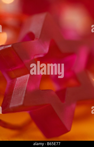 Pink Star of David holiday decoration, close-up - Stock Photo