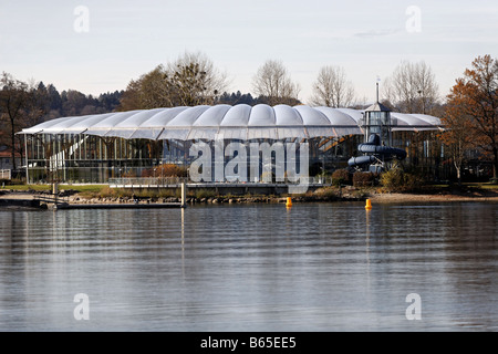 Prienavera Public Swimming Pool Complex, Prien Stock,  Chiemsee,  Chiemgau, Upper  Bavaria, Germany - Stock Photo