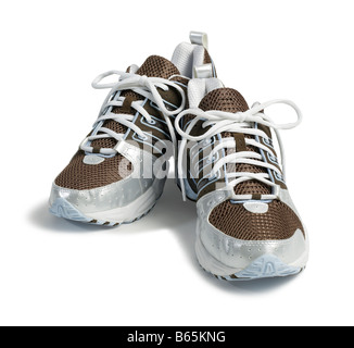 Brown Adidas running shoes - Stock Photo