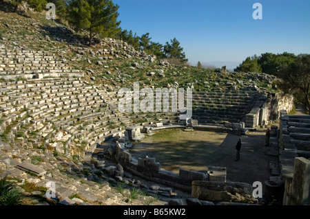 The ancient Greek Theatre at Priene, Anatolia, Turkey - Stock Photo