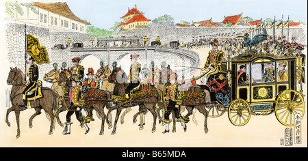 Emperor Mutsuhito of Japan in his state carriage, Tokyo circa 1890. Hand-colored woodcut - Stock Photo