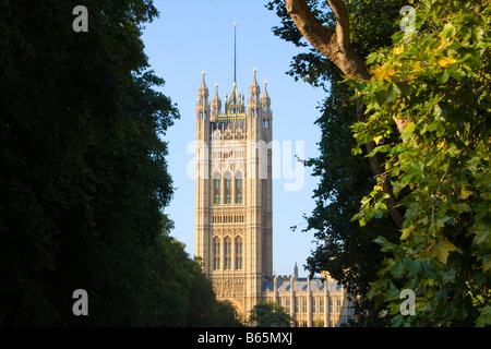 Victoria Tower at Palace of Westminster (also known as the Houses of Parliament or Westminster Palace) from Black - Stock Photo
