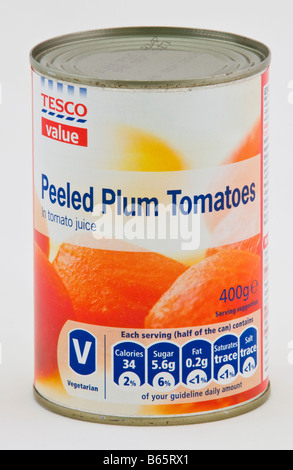 Peeled plum tomatoes in tomato juice costing 33p part of the Tesco value range of cheap food sold in the UK - Stock Photo