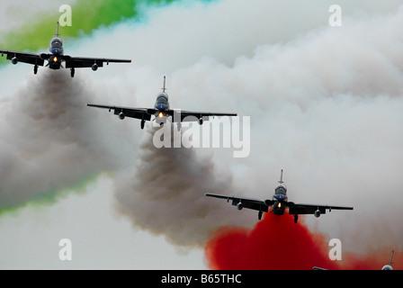 Italian military aerobatic squadron Frecce Tricolori - Stock Photo