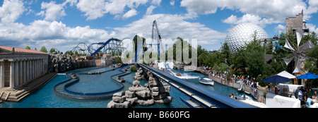 Europa Park theme park, Rust Germany.  Roller coaster Poseidon in the foreground. - Stock Photo