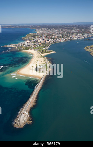 Nobbys Head and Entrance to Newcastle Harbour Newcastle New South Wales Australia aerial - Stock Photo