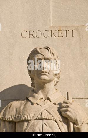 David Davy Crockett sculpture Statue Spirit of sacrifice Alamo Heroes Monument The Alamo Cenotaph Alamo Plaza San - Stock Photo