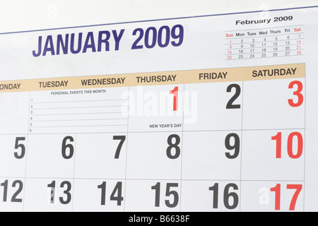 Calendar 2009 showing month of January - Stock Photo