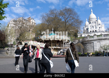 People walking along near Sacre Coeur, Paris France - Stock Photo