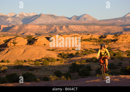 Riding the famous Slickrock Trail Moab Utah model released - Stock Photo