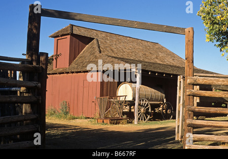 Barn of Historic Ranch Buildings Texas Tech. University Lubbock Texas US - Stock Photo