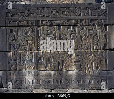 El Tajin, Mexico. Relief Of Sacrifice - Stock Photo