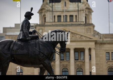 Equestrian statue of Queen Elizabeth II in the Queen Elizabeth II Gardens next to the Legislative Building, City - Stock Photo