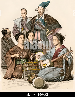 Japanese women playing music and drums wearing traditional clothing. Hand-colored print - Stock Photo