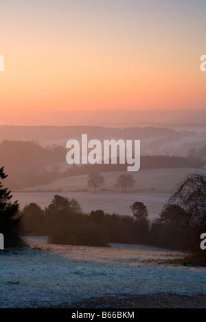 Scenic 'frosty dawn' 'Newlands Corner' North Downs Surrey Hills Near Guildford Surrey - Stock Photo