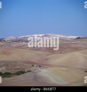 Dry arid landscape of cultivate undulating fields in autumn Andalusia Spain - Stock Photo
