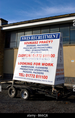 NWES recruiting Eu Polish employment trailer advertising for workers, Southport, Merseyside,uk - Stock Photo
